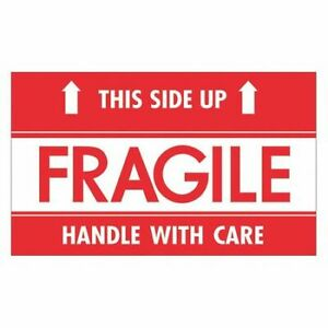 Tape Logic Scl521 Labels fragile this Side Up hwc 3 x5 Red white 500