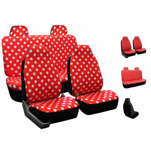 Fh Group Semi Customed Fit Solid Polka Dots Flat Cloth Auto Seat Covers Full Set