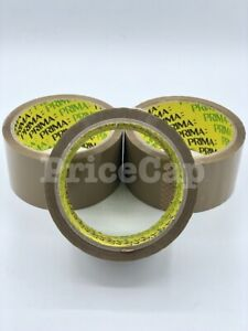 2 Prima Brown Buff Adhesive Tape 48mm X 40m Strong Parcel Packaging Sellotape
