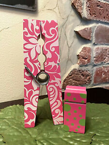 Giant Pink white Graphic Baby Pink green Polka dots Clothespin Memo Holder Set