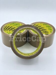 6 Prima Brown Buff Adhesive Tape 48mm X 40m Strong Parcel Packaging Sellotape