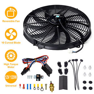 16 Inch Electric Radiator Fan High 3000 Cfm Thermostat Wiring Switch Relay Kit