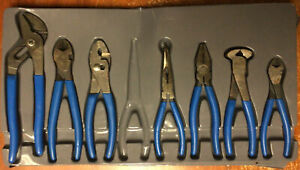 Blue Point Bdgpl800 Pliers Cutters Dipped Grip 7 Piece Set No Needle Nose Used