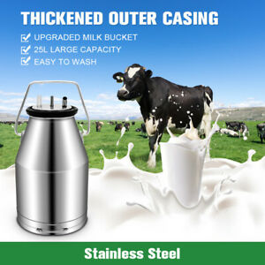 25l Electric Milking Machine For Farm Cows 304 Stainless Steel Bucket Cow Milker