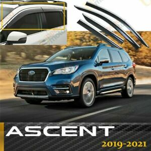 Fit Subaru Ascent 2019 2021 Window Vent Visors Rain Deflector Chrome Trim Clips