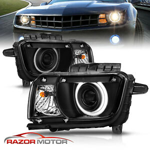 2010 2011 2012 2013 Halo Ring Projector Black Headlight For Chevy Camaro