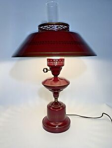 Vintage Red Gold Metal Tole Ware Table Lamp Glass Hurricane 21 Tall