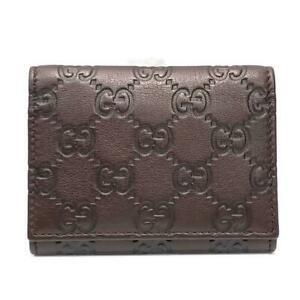 Authentic Gucci Business Card Holder Case Guccissima Leather Brown Used Gg