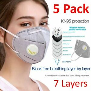 5 Pack Kn95 Face Mask Covering With Air Breathing Valve Activated Carbon Layer
