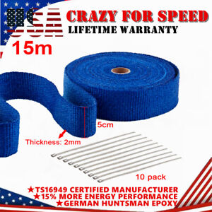 Blue Super 2 X 50ft Exhaust Thermal Wrap Manifold Header Isolation Heat Tape
