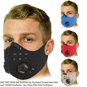 Sports Mask Cycling Face Mask Neoprene Breathable valves Strap w filter Airsoft $4.99