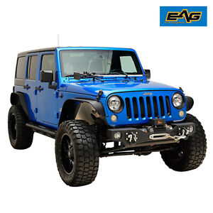 Eag Black Front Winch Bumper Stubby With D ring Fit For 07 18 Jeep Jk Wrangler