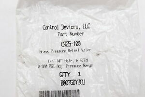 Control Devices Cr25 100 Brass Variable Pressure Relief Valve 1 4