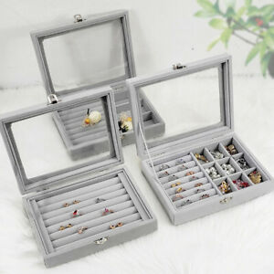 Ring Earring Display Tray Holder Storage Case Jewelry Show Case Organizer Box