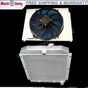 3 Row Radiator Shroud 16 Fan For 1947 1954 Chevy 3100 3600 3800 Truck Pickup