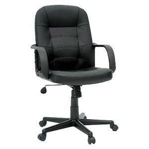 Office Chair Bonded Leather Black Room Essentials