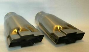 Polished Stainless 2 25 Inlet Chevy Bowtie Exhaust Tips Pair