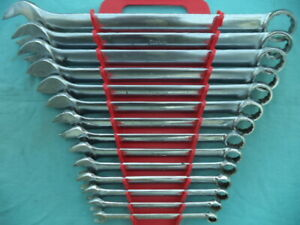 Large Snap On Sae 12 Pt Combo Wrench Set Oex714k 3 8 1 1 4 14 Pc W Rack Nice