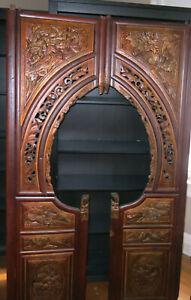 Antique C 1890 Chinese Carved Camphor Bed Frame Beautiful