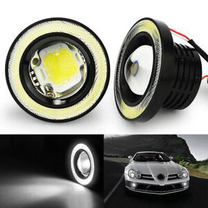 3 5 Round Cob Led Fog Light Projector Lamp Super White Angel Eyes Drl Halo Ring