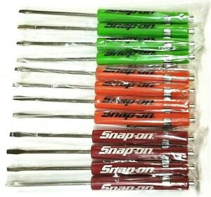 New 12 Assorted Snap on Tools Flat Tip Pocket Screwdrivers W clip Magnetic End
