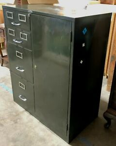 30 5 In Wide Antique Cole Steel Green Filing Cabinet With 4 Drawers 3 Shelves
