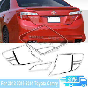 For 2012 2014 Toyota Camry Chrome Rear Tail Light Bezel Covers Overlays Trim Set