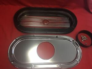 New Chrome Oval Finned Chrome Air Cleaner Ford Mustang Shelby Sbf 289 302 Fe 428