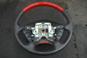Driver Steering Wheel Leather Red Wood 1w6z3600aad Oem Ford Thunderbird 2002