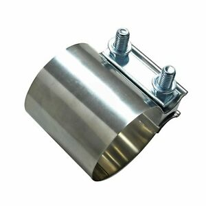2 1 2 Stainless Steel Flat Band Exhaust Clamp 2 5 Id Sleeve Coupler T304