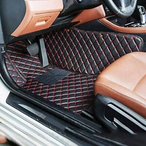 Floor Mats For 2011 2014 Ford Mustang Leather Waterproof Full Coverage Black Red
