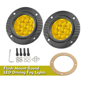 5 3000k Round Flush Mount Led Spot Light Pods Work Flood Driving Fog Off Road