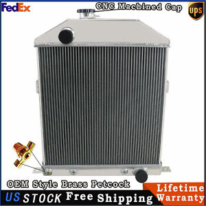 4 Row Aluminum Radiator For 1942 1948 Ford Coupe Mercury Chevy Engine 1947 1946