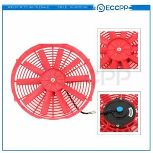 Electric Radiator Condenser Cooling Fan Assembly 14 Inch Universal 12v Red