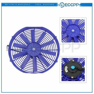 Electric Radiator Condenser Cooling Fan Assembly 14 Inch Universal 12v Blue