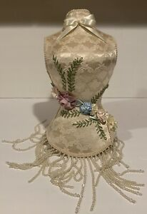 Vintage Boudoir Mannequin Dress Bust Victorian Display Embroidery Ribbons Rose