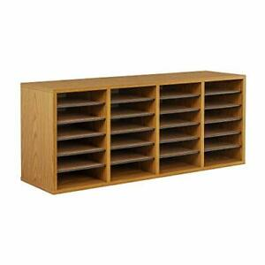 Safco Products Wood Adjustable Literature Organizer 24 Compartment 9423mo Med