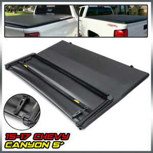Lock Tri Fold Tonneau Cover Black For 2015 2019 Chevy Colorado Canyon 5ft Bed