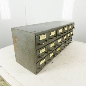 Equipto 18 Drawer Industrial Metal Small Parts Cabinet 34 1 4 w X11 d X 13 1 2 h