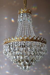 Antique Vintage Home Lighting French Empire Crystal Chandelier Lamp Light Part