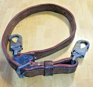 Linemans Leather Positing Strap With Woven Nylon Center 366099e