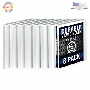 Samsill 3 Ring Durable View Binders 8 Pack 1 2 Inch Round Ring Non stick