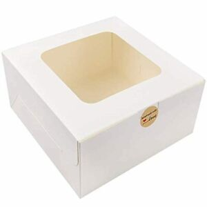 Moretoes 24pcs 10x10x5 Inches White Bakery Boxes With Window Cake Box For Pastri