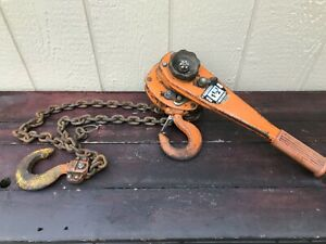 Vintage Beebe Wasp 1 1 2 Ton Lever Chain Hoist Lv 3000 5 1 2 Ft Of Lift