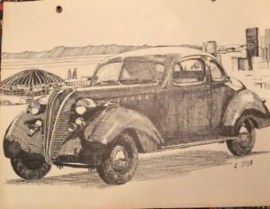 1937 Terraplane Hudson Coupe Artist Drawing Print Utility Art Picture 4 Display
