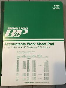 Vintage Boorum Pease 8806 Accountants Work Sheet Pad 6 Columns 11 X 8 1 2