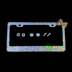 Bling License Plate Frame With Big Chunky Silver Pink Leopard Cheetah Bow