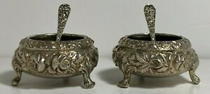 Pair Of Stieff Repousse 2 Footed Salt Cellar With Spoon Sterling Silver