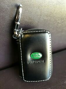 Black Leather Car Key Chain Bag Fob Remote Coin Holder Case Zipper Land Rover