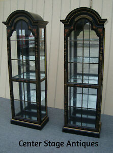 61674 Pair Oriental Curio Cabinets With Plate Glass Shelves